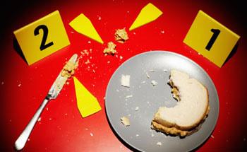 Escena de crime: emparedado a medio comer
