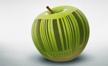 Manzana con código de barras